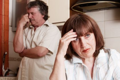 Conflict adults couple. Problems in family. Divorce between man and woman