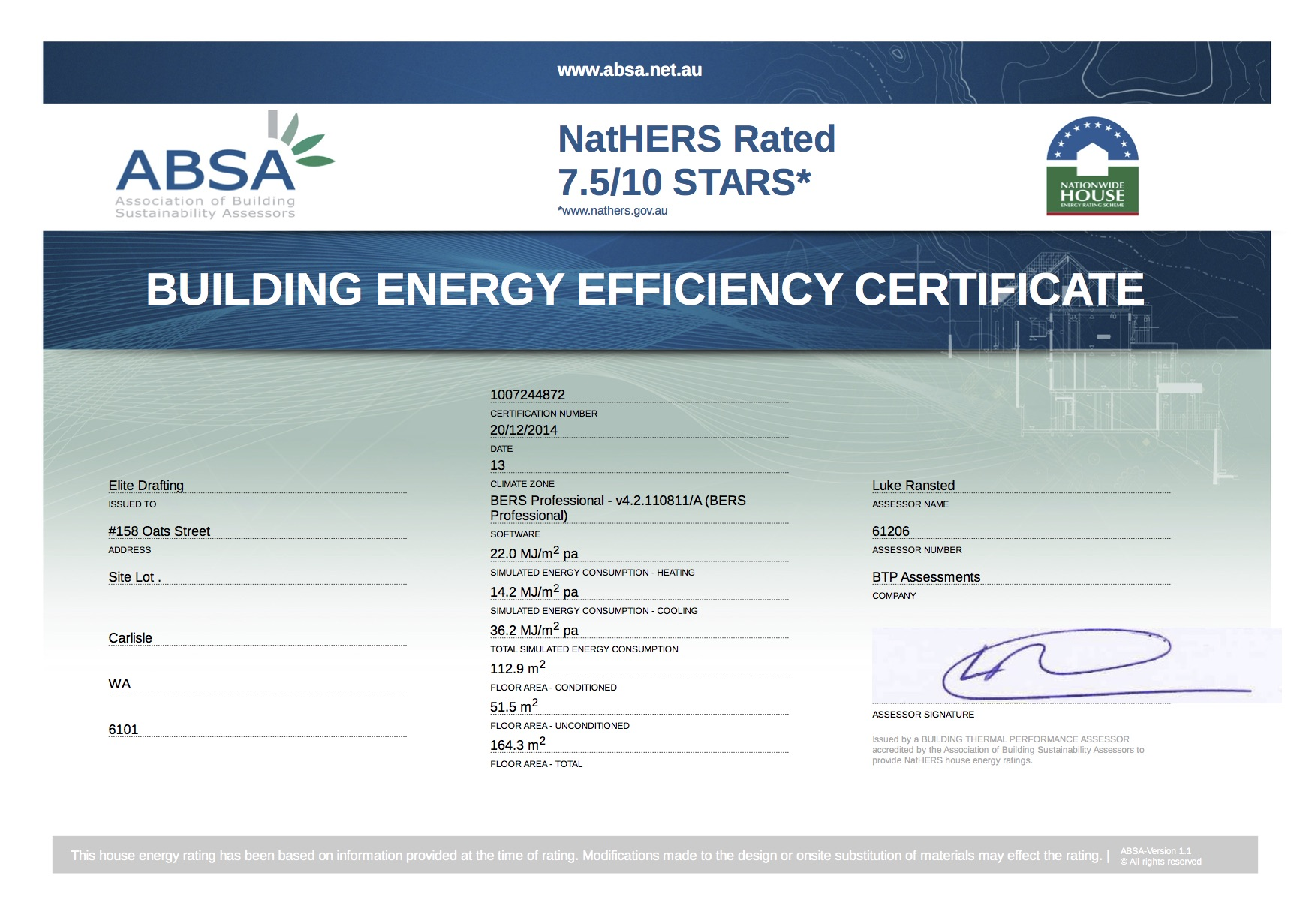 Building energy efficiency certificate cover